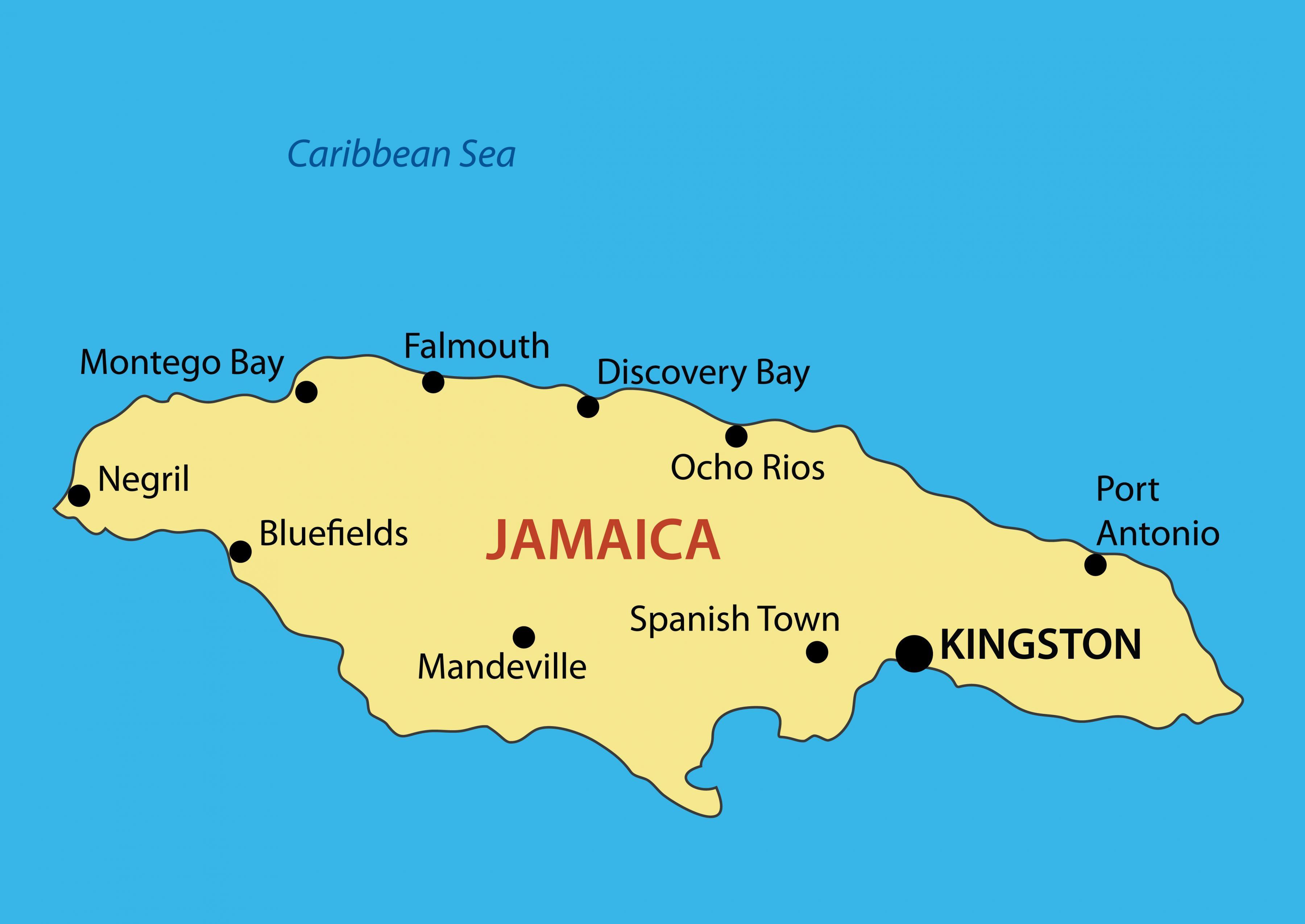 Jamaica Borgir Kort Kort Af Jamaica Borgir Caribbean Ameriku