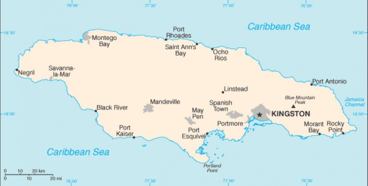 Jamaica Svaedi Kort Kort Af Jamaica Svaedi Caribbean Ameriku